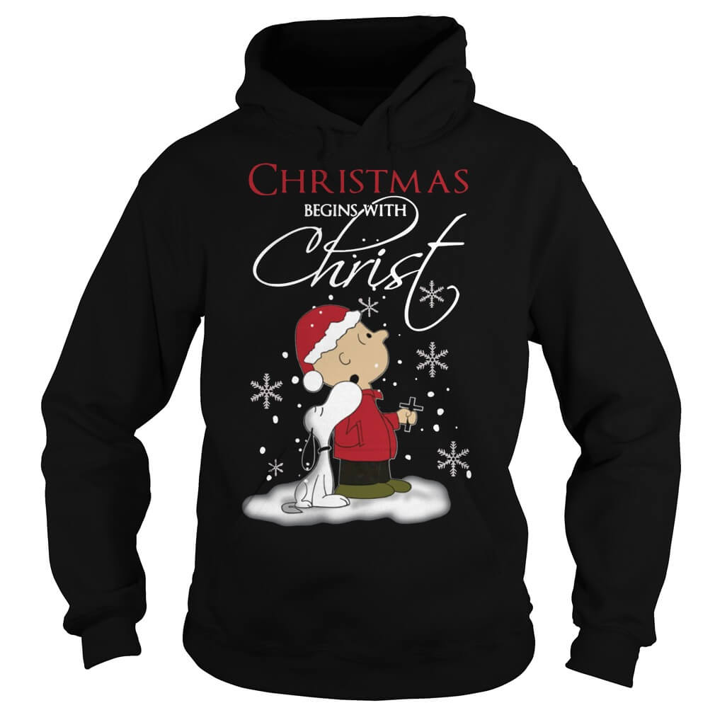 Snoopy and Charlie Christmas begins with christ cute snoopy