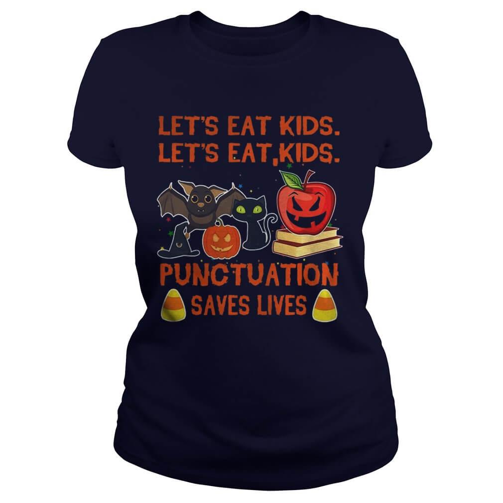 Halloween let's eat kids let's eat kids punctuation saves lives girl