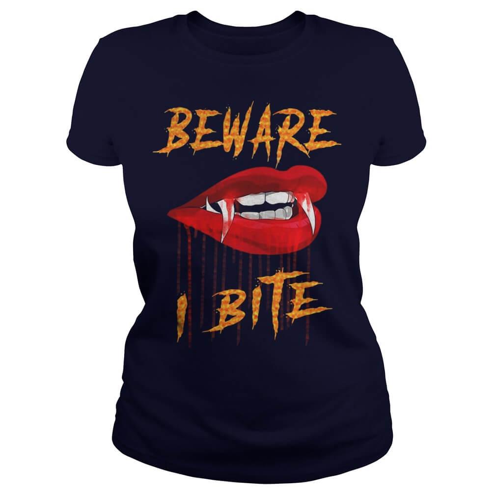 Beware I Bite with Vampire Fangs Vector Drawing