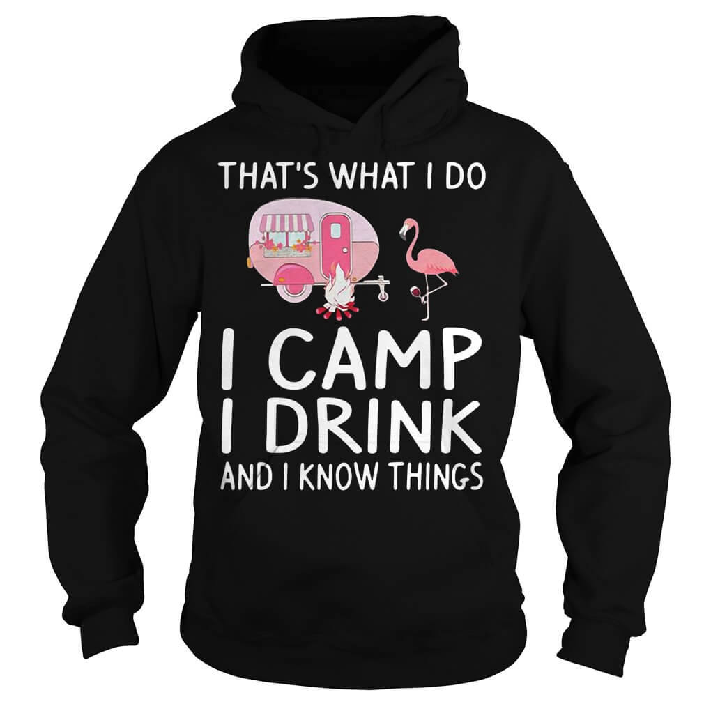 Flamingo There's no such thing as too early to drink when camping hoodie