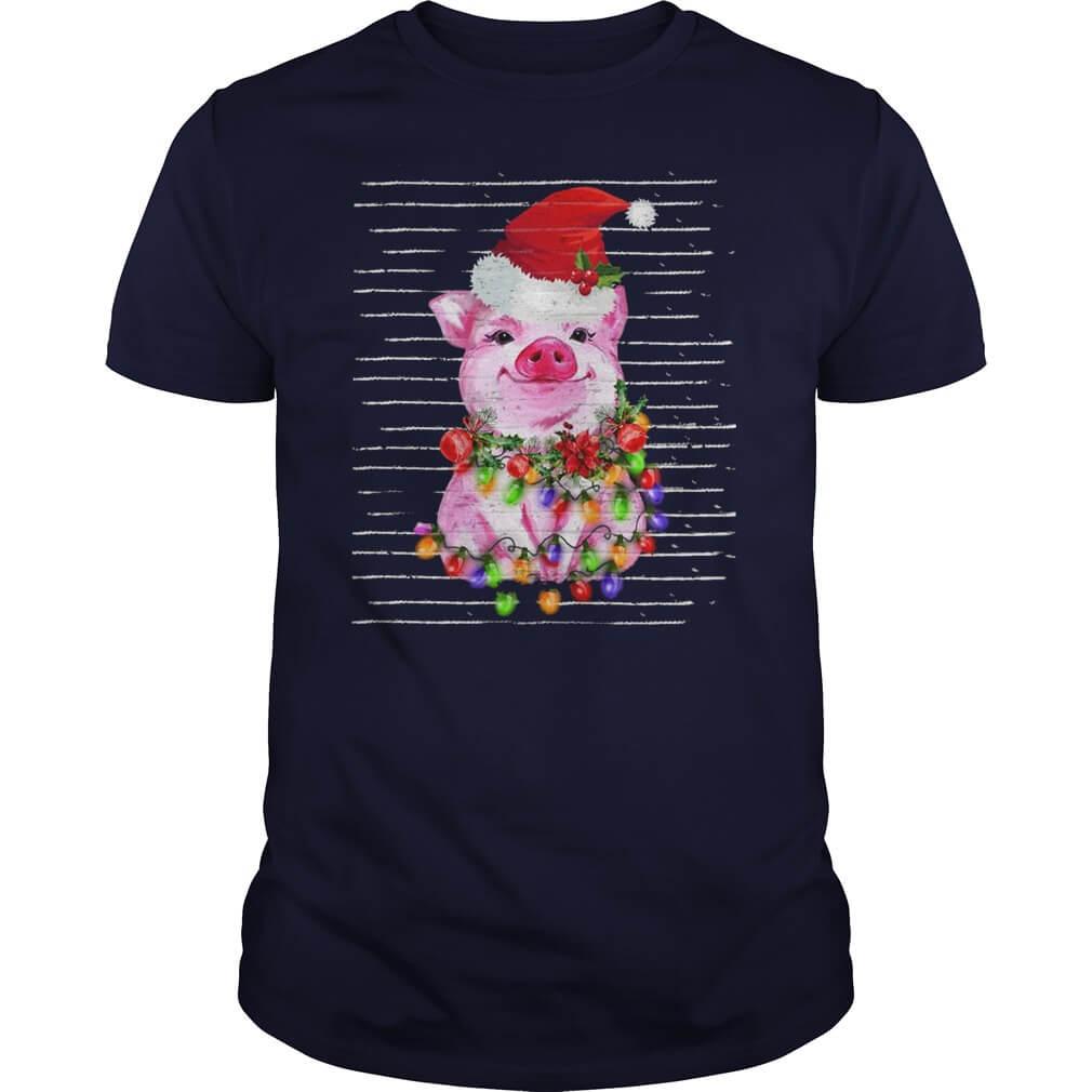 Pig Santa pink happy Christmas