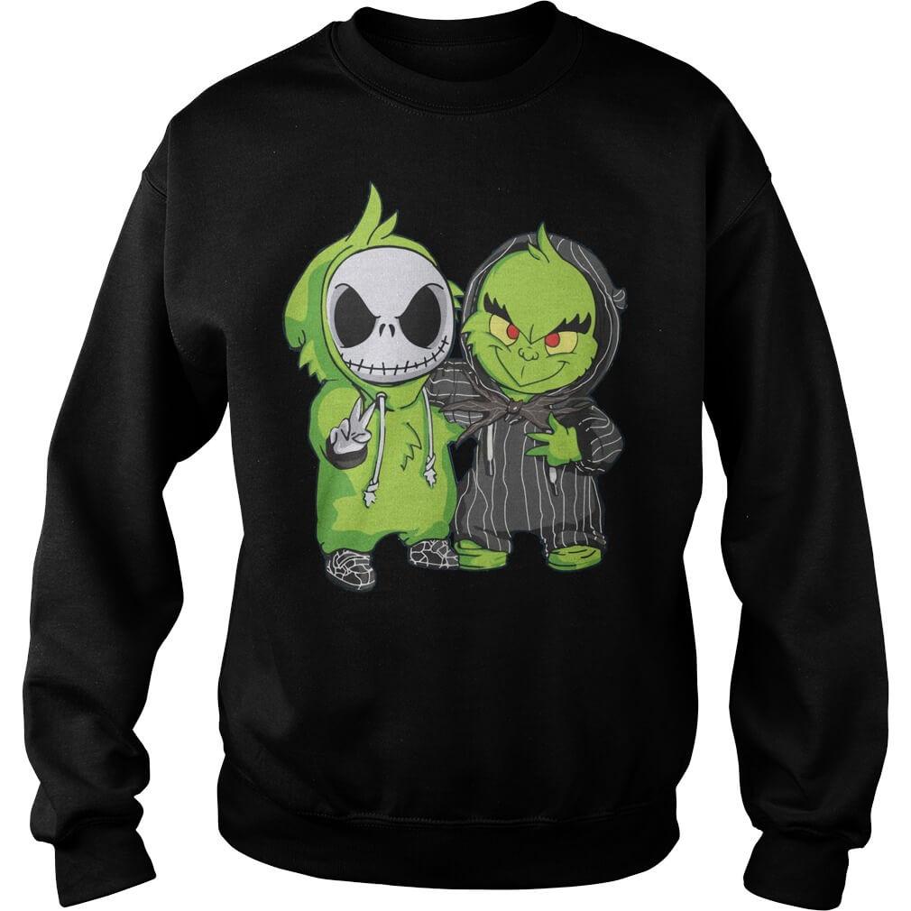 Baby Grinch and Jack Skellington Sweater men