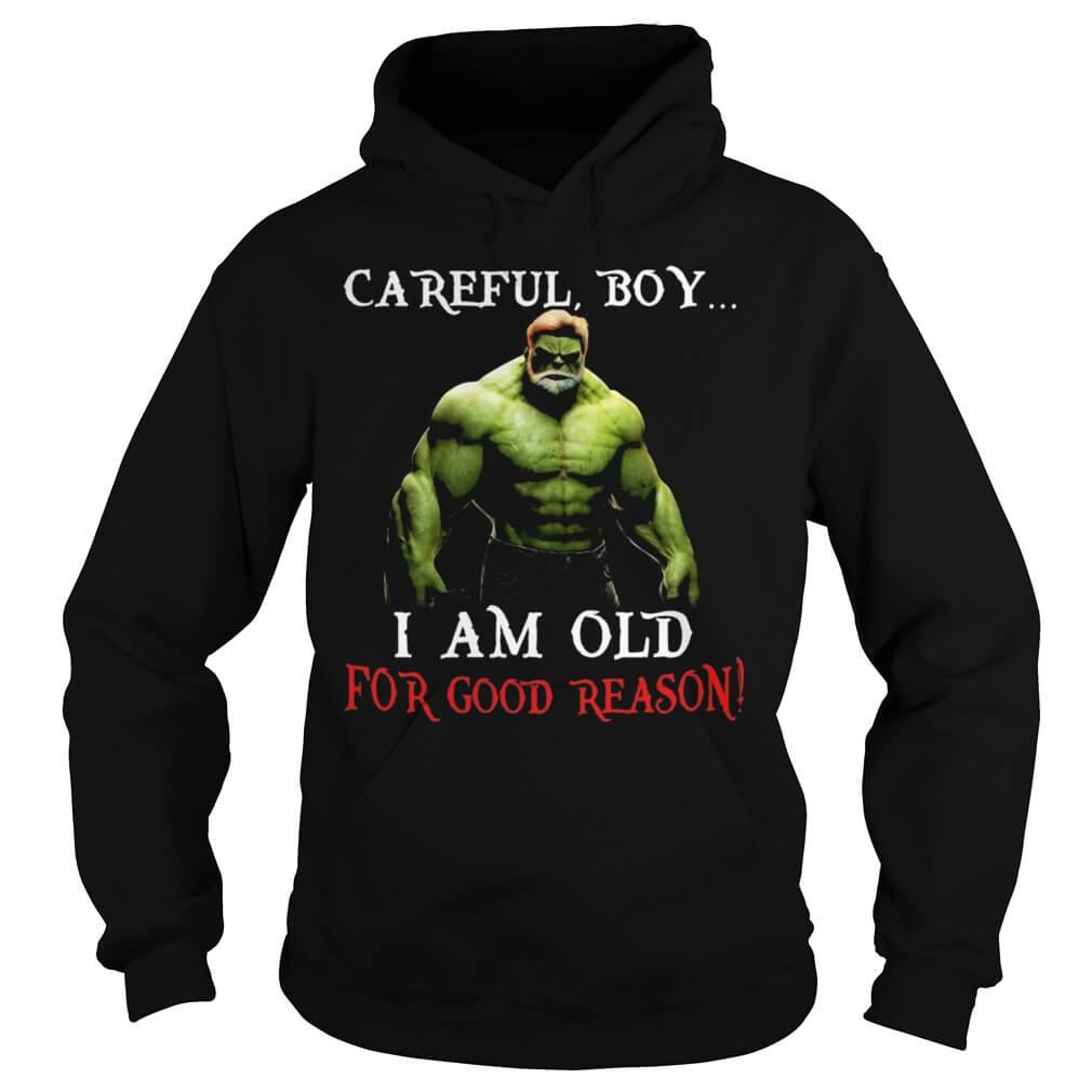Hulk: Careful, Boy I Am Old For Good Reason hoodie